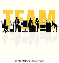 équipe, silhouette, illustration affaires, gens
