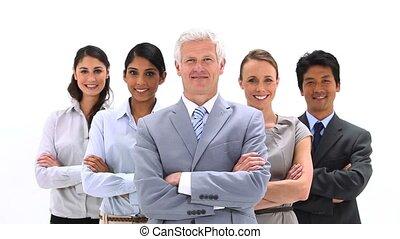 équipe, sourire, business, poser