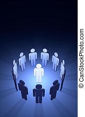 équipe, (symbolic, figures, people), créatif