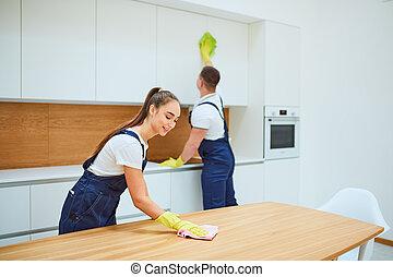 équipe travail, service, intérieur, blanc, nettoyage, cuisine