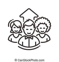 équipe, unique, travail, business, icône