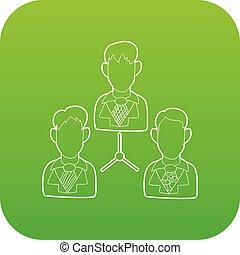 équipe, vecteur, vert, bureau, icône