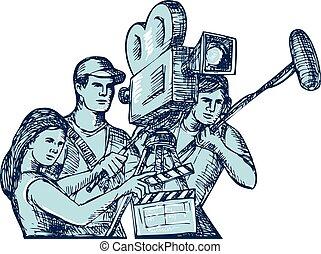 équipede tournage, clapperboard, cameraman, soundman, dessin