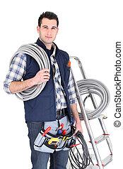 équipement, échelle, sien, tenu, électricien