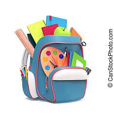 équipement, école, rucksack