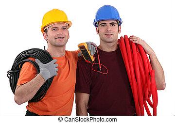 équipement, électriciens, deux