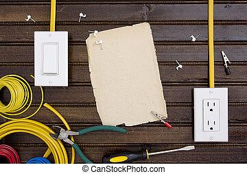 équipement, électrique, installation, sorties