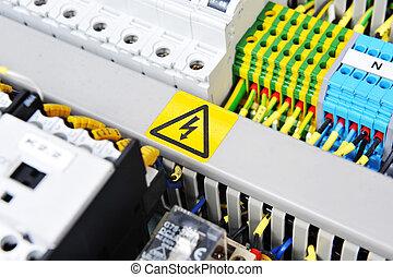 équipement, électrique, panneau
