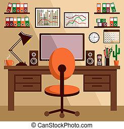 équipement affaires, objects., bureau, choses, lieu travail