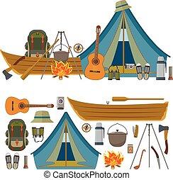 équipement, arrière-plan., vecteur, camp, objets, camping, isolé, blanc, icônes, ensemble, outils