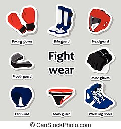 équipement, arts, ensemble, sport, martial