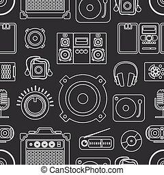 équipement, audio, collection, icônes
