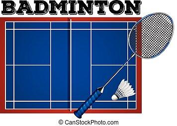 équipement, badminton, tribunal