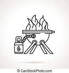 équipement, barbecue, ligne, noir, icône