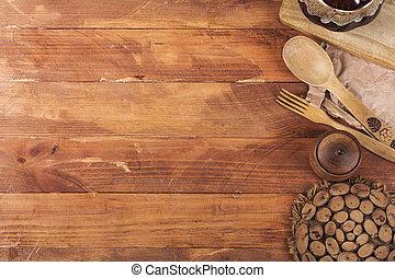 équipement, bois, sombre, arrière-plan., au-dessus, vue cuisine