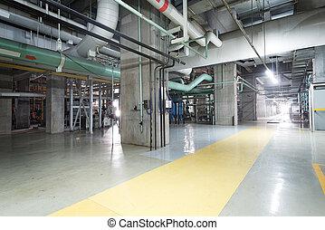 équipement, câbles, et, tuyauterie, comme, trouvé, dans, a, moderne, industriel, centrale électrique