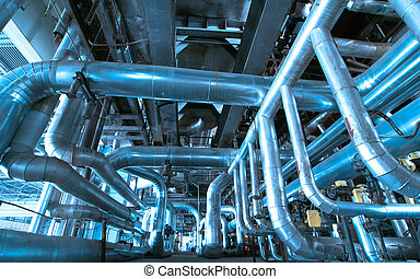 équipement, câbles, et, tuyauterie, comme, trouvé, dans, a,...