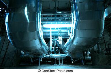 équipement, câbles, et, tuyauterie, comme, trouvé, dans, industriel, centrale électrique