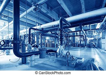 équipement, câbles, et, tuyauterie, comme, trouvé, dans, industriel, puissance