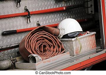 équipement, camion, firefighting