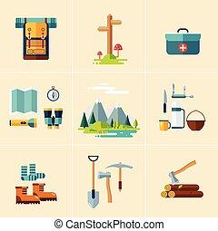 équipement campant, icons., plat, design.
