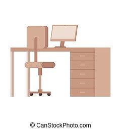 équipement, chaise, bureau, bureau, bureau