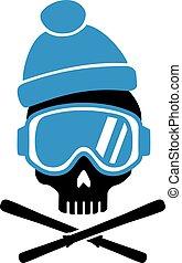 équipement, chapeau, crâne, ski