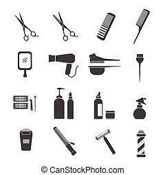 équipement, coiffure, icônes