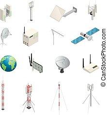 équipement, communication, sans fil, icônes, isométrique