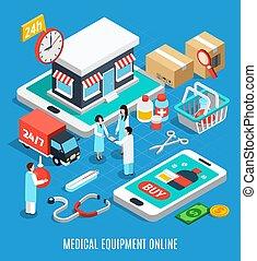 équipement, concept médical, isométrique