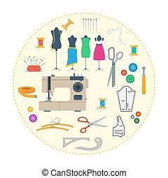 équipement, concept, rond, couture