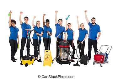 équipement, concierges, groupe, nettoyage, heureux
