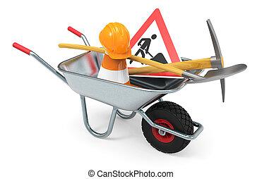 équipement, construction, ouvrier, sous, bâtiment