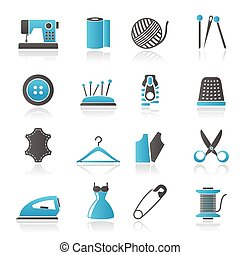 équipement, couture, objets, icônes