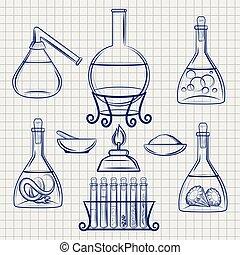 équipement, croquis, laboratoire, science
