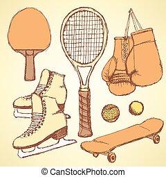 équipement, croquis, sport