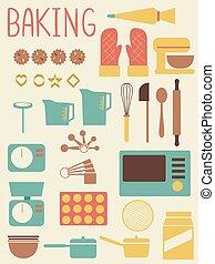 équipement, cuisson, outils, illustration, plat