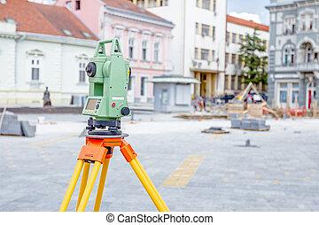 équipement, engineer's, terre, civil, examiner, instrument, theodolite