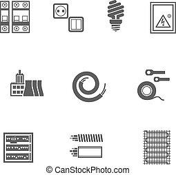équipement, ensemble, électrique, icônes