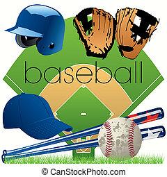 équipement, ensemble, base-ball