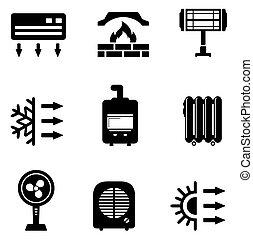 équipement, ensemble, chauffage, icônes