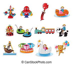 équipement, ensemble, cour de récréation, dessin animé, icônes