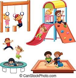 équipement, ensemble, enfants jouer, cour de récréation