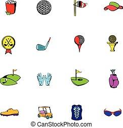 équipement, ensemble, golf, dessin animé, icônes