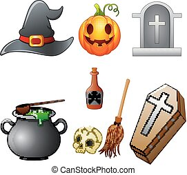équipement, ensemble, halloween, dessin animé