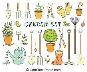 équipement, ensemble, jardin, coloré