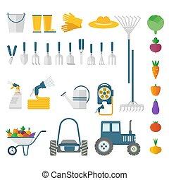 équipement, ensemble, jardin, grand