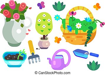 équipement, ensemble, jardin, icône