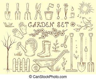 équipement, ensemble, jardin, printemps