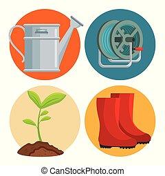 équipement, ensemble, jardinage, plat, icônes